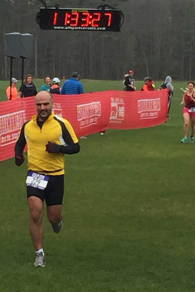 Runner finishing a triathlon